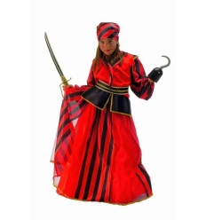 Disfraz pirata rayas rojas niÑa