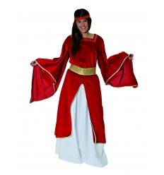 Disfraz medieval doncella burdeos adulto